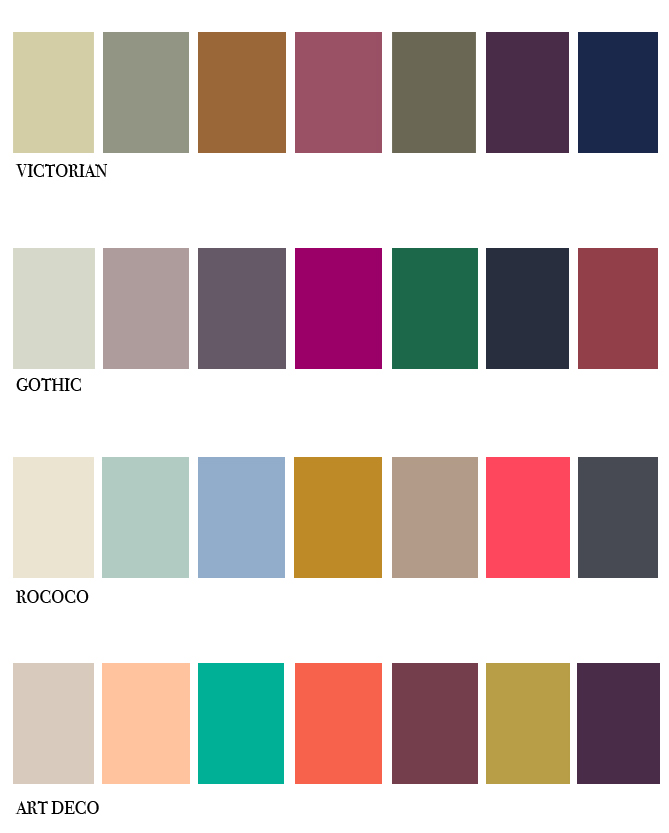victorian gothic rococo and art deco colour palettes. Black Bedroom Furniture Sets. Home Design Ideas